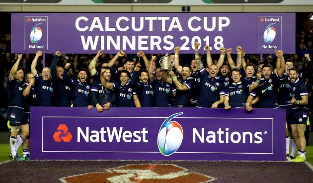 Scotland celebrate winning The Calcutta Cup