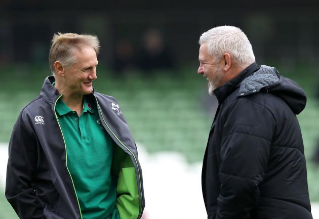 Joe Schmidt with Warren Gatland before the game