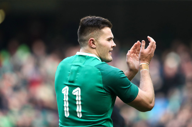 Jacob Stockdale celebrates after the game