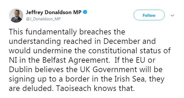 Euuk withdrawal agreement includes plan to keep northern ireland in jeffrey donaldson solutioingenieria Image collections