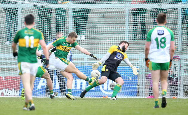 Peter Crowley scores a goal