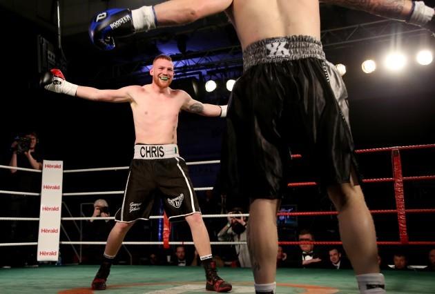 Chris Blaney in action against Owen Jobburn