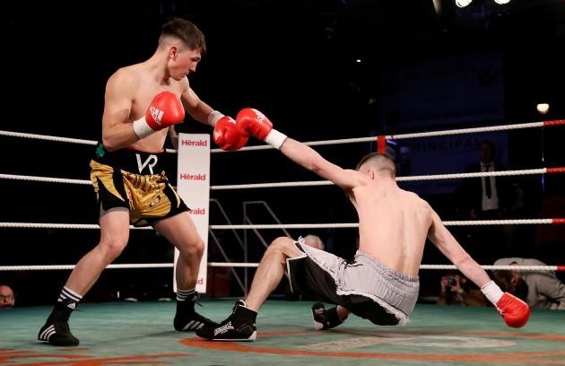 Victor Rabei knocks down Mark Morris
