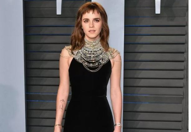 Emma Watson Reacts to Typo on Her Fake Tattoo at Oscars Party