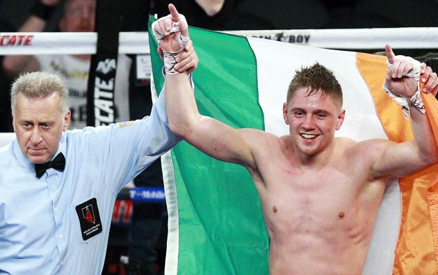 Jason Quigley is declared the winner
