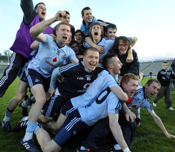Dublin players celebrate at the end of the gam