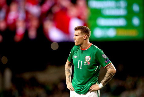 James McClean dejected after the match