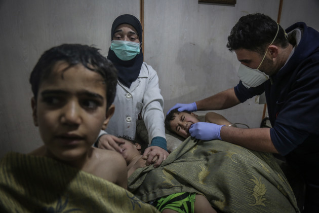 Wounded children in East Ghouta hospital