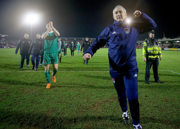 John Caulfield celebrates after the game