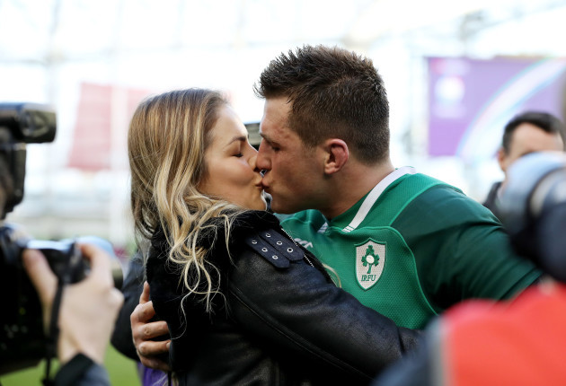 CJ Stander celebrates with wife Jean-Marie after the game
