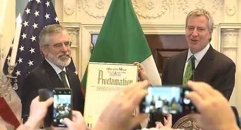 Mayor of NY declares today as 'Gerry Adams Day'
