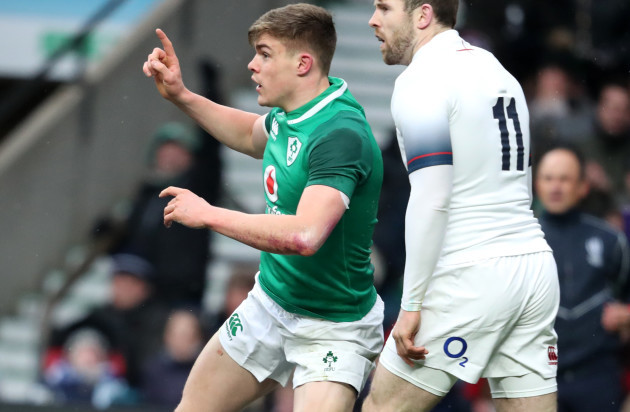 Garry Ringrose celebrates after scoring a try