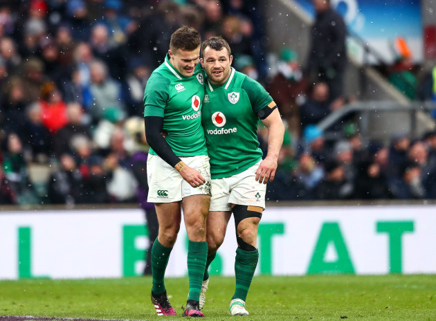 Jacob Stockdale celebrates scoring their third try with Cian Healy