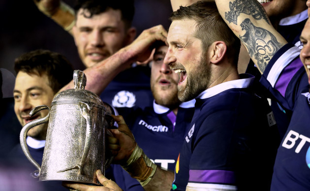 John Barclay celebrates with the Calcutta Cup