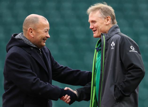 Eddie Jones with Joe Schmidt before the game