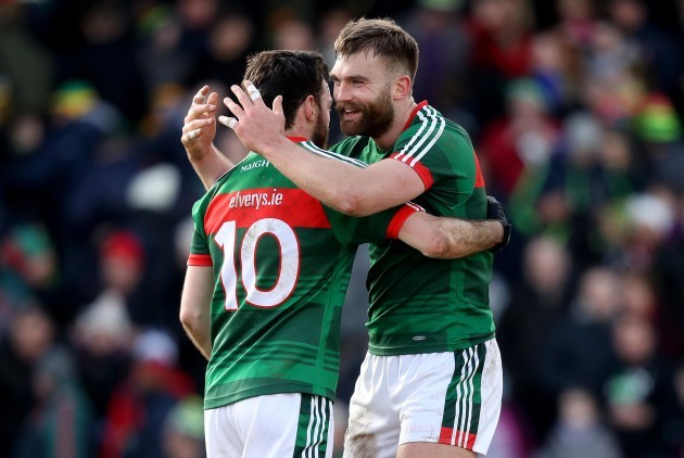 Aidan O'Shea celebrates after the game with Kevin McLoughlin