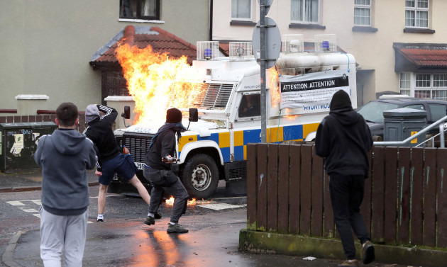 Petrol bombs thrown at police cars during republican parade