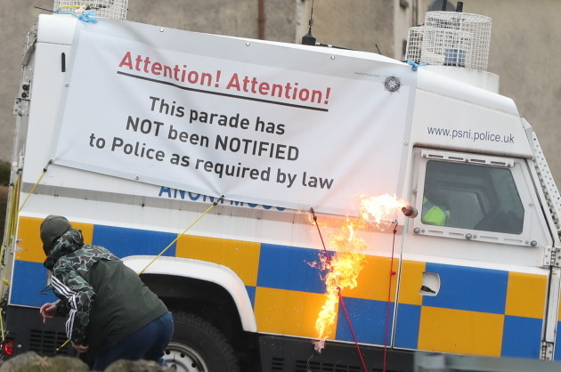 Petrol bombs thrown at police during Easter Rising parade in Londonderry