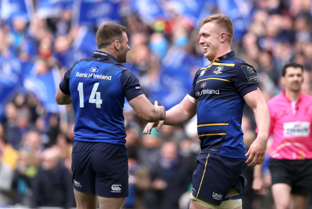 Dan Leavy celebrates his try with Fergus McFadden