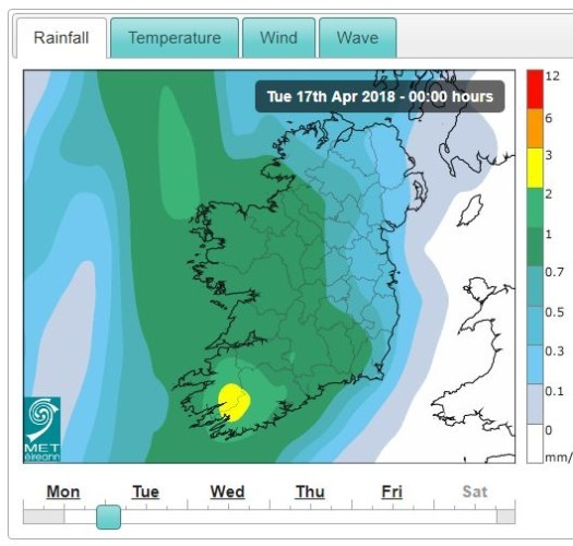 Met Eireann rain Tuesday