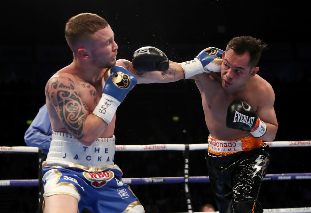 Carl Frampton (left) in action against Nonito Donaire