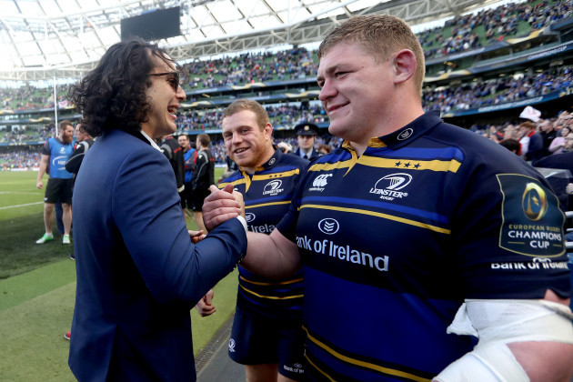 James Lowe celebrates after the game with Sean Cronin and Tadhg Furlong