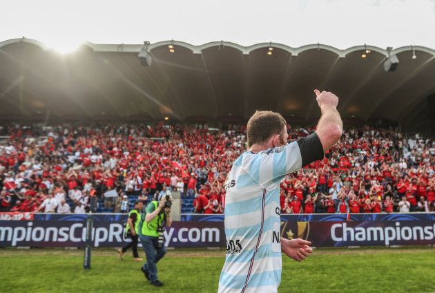 Donnacha Ryan applauds the Munster fans after the game