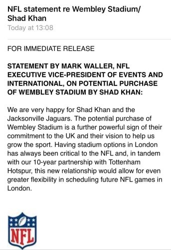 Nfl team make near 1 billion bid to buy home of english football the nfl have given their support to the move with a statement of their own this afternoon fandeluxe Choice Image