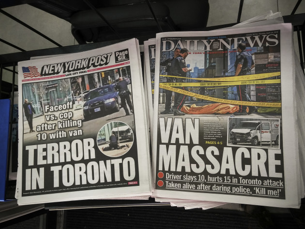 NY: New York newspapers report on van attack in Toronto, Canada