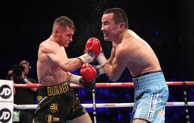 Ryan Burnett in action against Zhanat Zhakiyanov