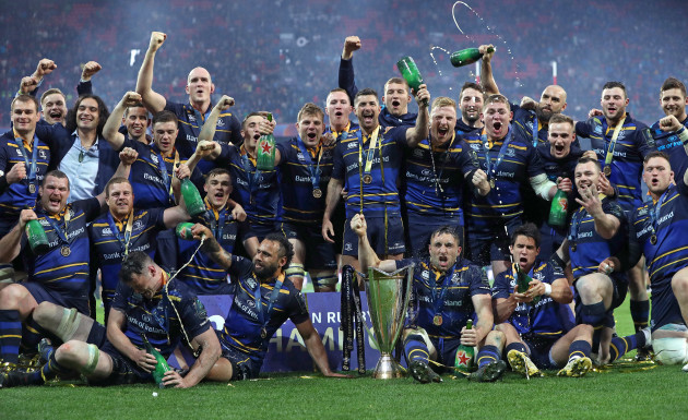 Leinster celebrate winning the European Rugby Champions Cup Final