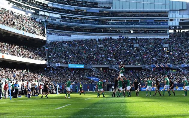 A general view of the lineout at Soldier Field