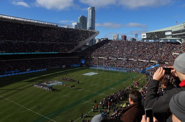 The All Blacks perform the Haka at Soldier Field
