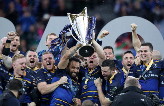 Isa Nacewa and Jordi Murphy lift the European Rugby Champions Cup trophy