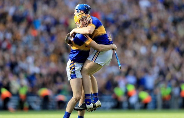 Seamus Callanan and Jason Forde celebrate at the final whistle