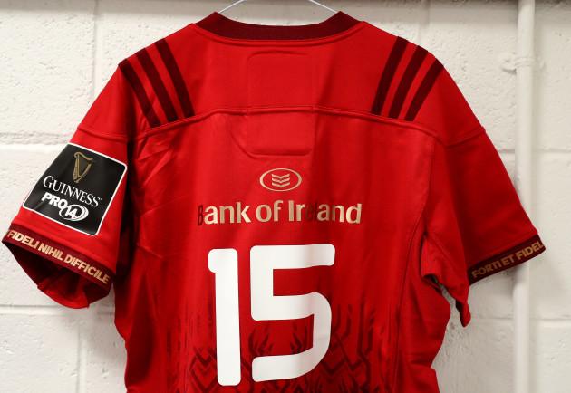 A view of Simon Zebo's jersey