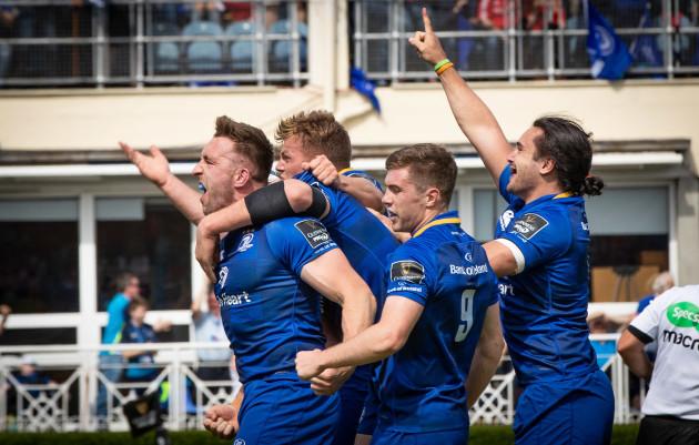 Jack Conan celebrates scoring with team mates