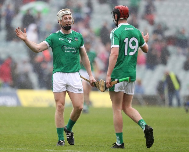 Cian Lynch celebrates at the final whistle with David Dempsey