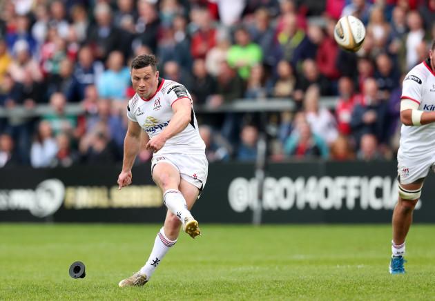 Ulster's John Cooney kicks a penalty