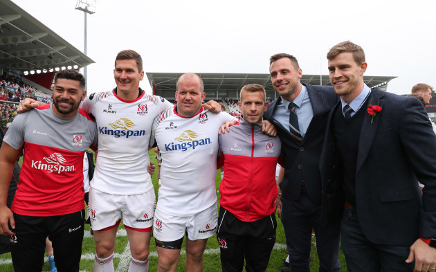 Ulster's Charles Piutau Robbie Diack Callum Black Paul Marshall Tommy Bowe and Andrew Trimble celebrate after the match