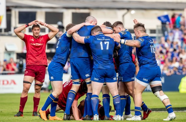 Leinster players celebrate winning a last minute penalty