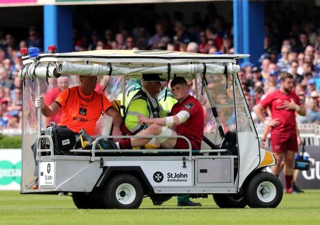 Jack O'Donoghue leaves the field injured