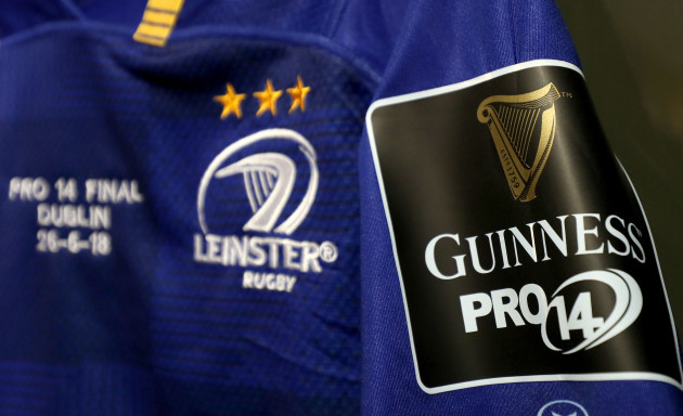 A view of PRO14 branding on a Leinster jersey in the dressing room