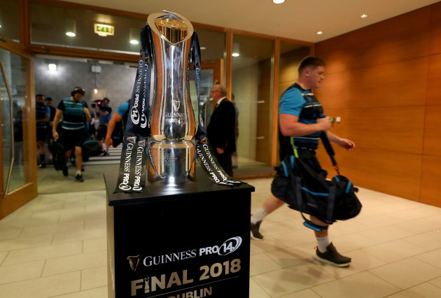 A view of the PRO14 trophy as players arrive