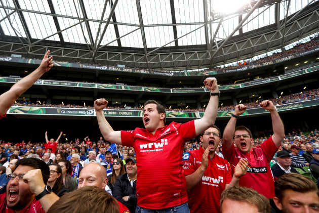Scarlets' fans celebrate a penalty for their side
