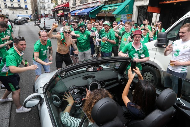 Ireland fans with the locals ahead of the game