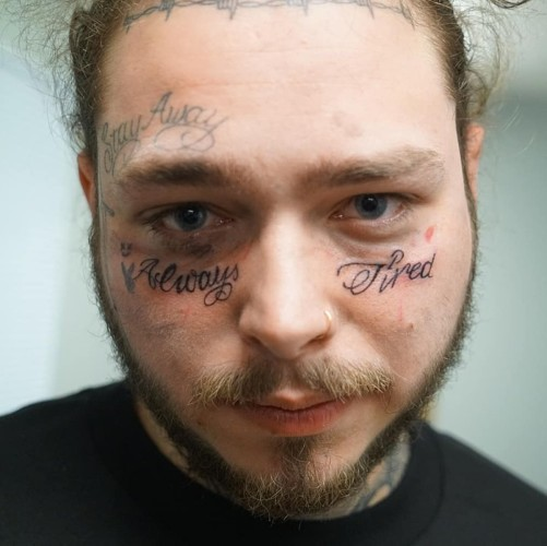 Post Malone Got A New Tattoo Saying Always Tired Under His Eyes And The Internet Has Not Been