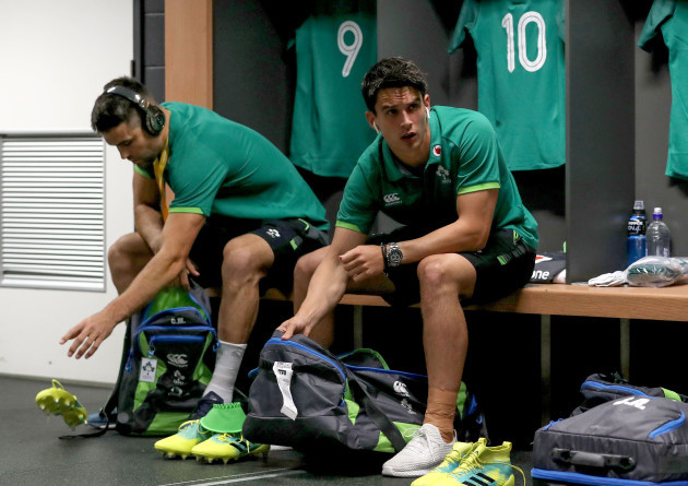 Conor Murray and Joey Carbery in the dressing before the game