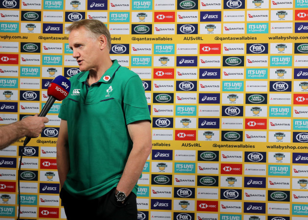Joe Schmidt speaking to the media before the game