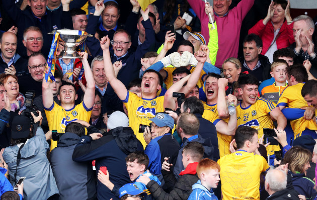 Roscommon celebrates as Niall Kilroy lifts the trophy